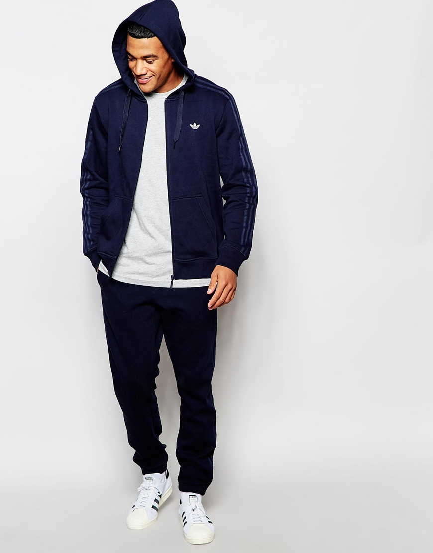 Adidas Originals Zip Up Hoodie With Classic Trefoil Aj7699 In Blue