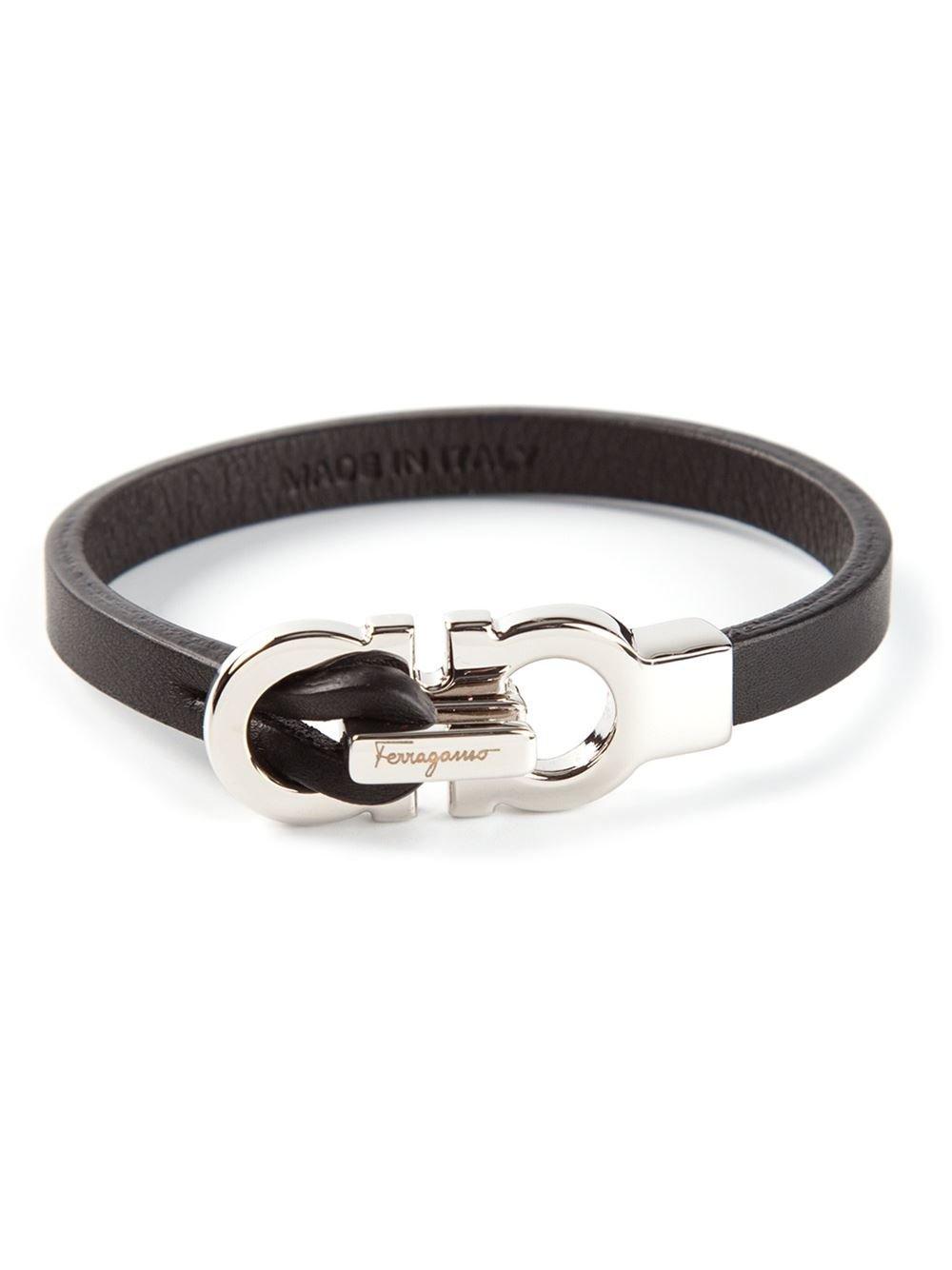 Ferragamo Gancini Bracelet in Black for Men - Lyst
