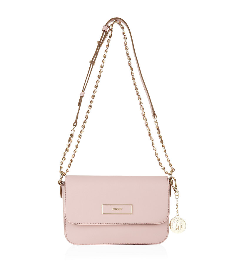 Dkny Saffiano Small Flap Cross Body Bag in Pink | Lyst