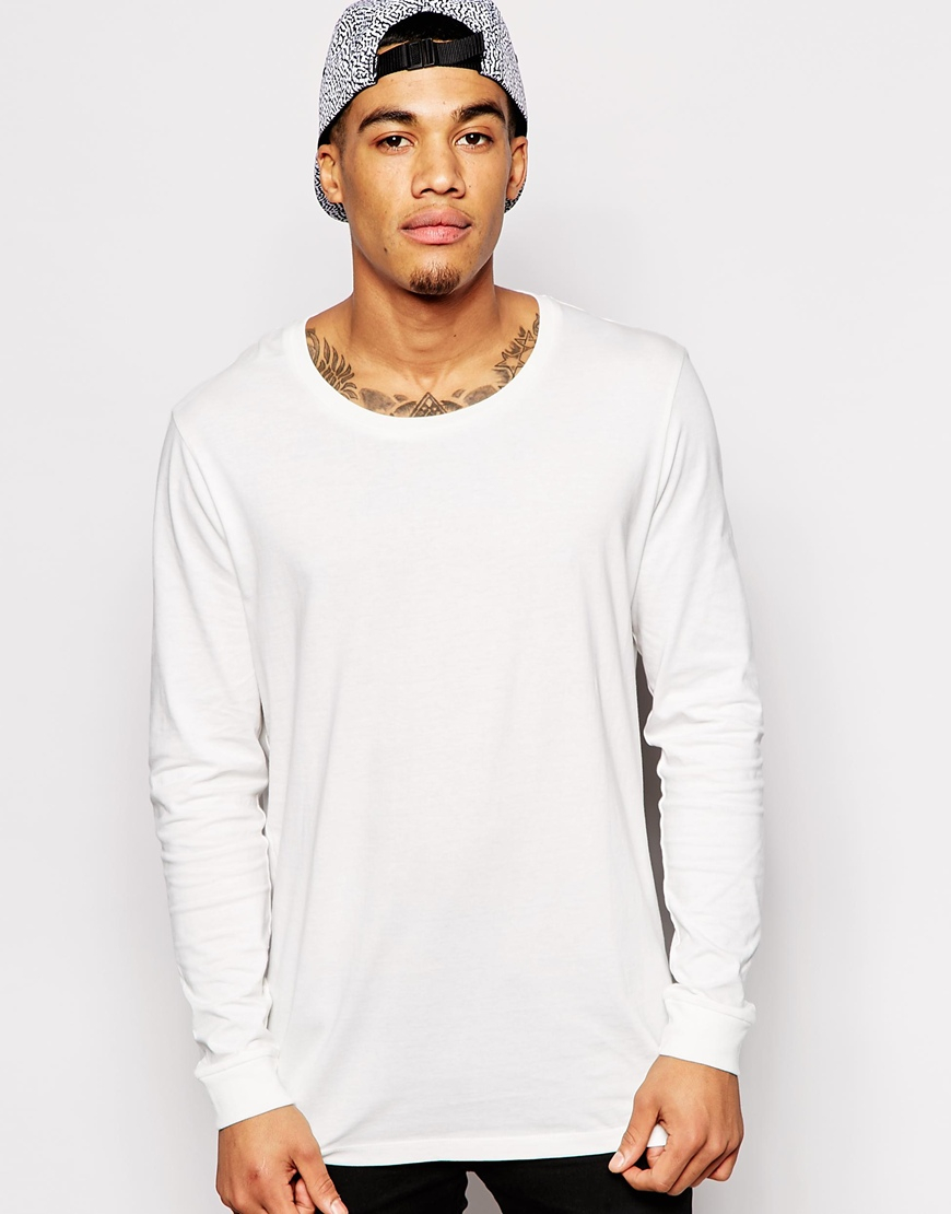 Asos longline long sleeve t shirt with scoop neck in for Scoop neck long sleeve shirt
