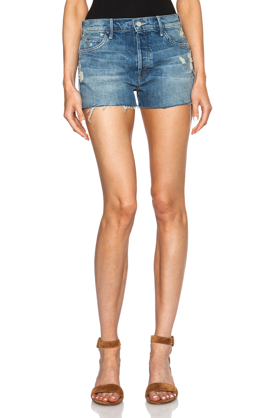 04fe6d71ef Lyst - Mother Candice Swanepoel + The Stunner Fray Shorts in Blue