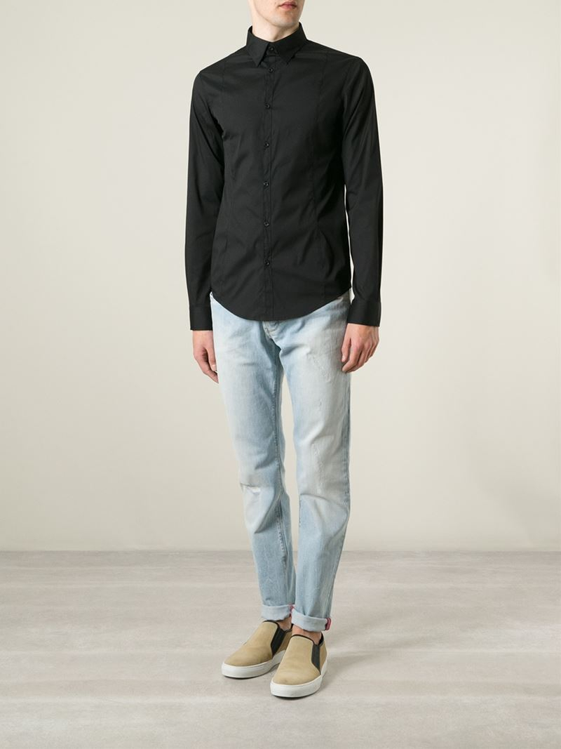 Armani jeans Classic Fitted Shirt in Black for Men | Lyst
