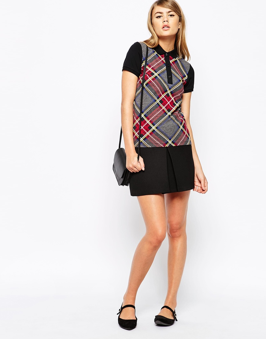 Fred perry Plaid Piques Polo Shirt in Black | Lyst
