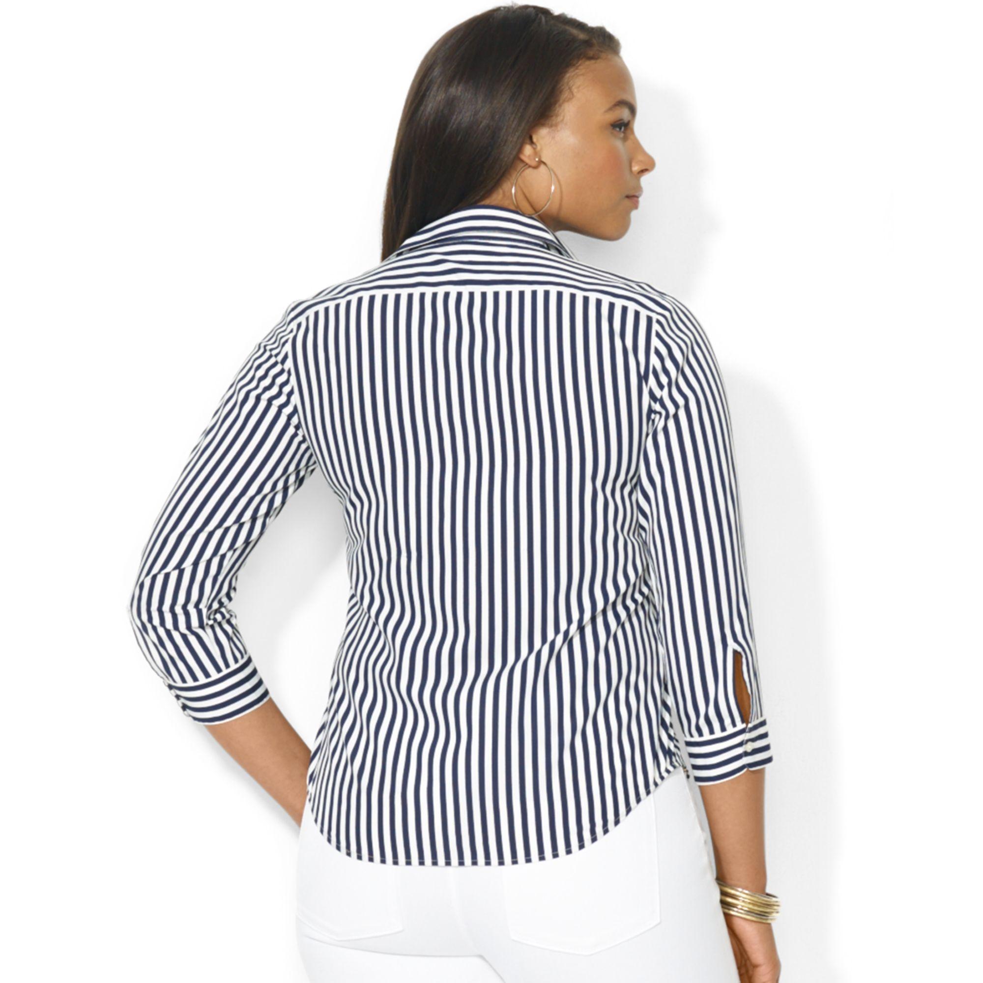 Lyst lauren by ralph lauren plus size threequartersleeve for Three quarter length shirt