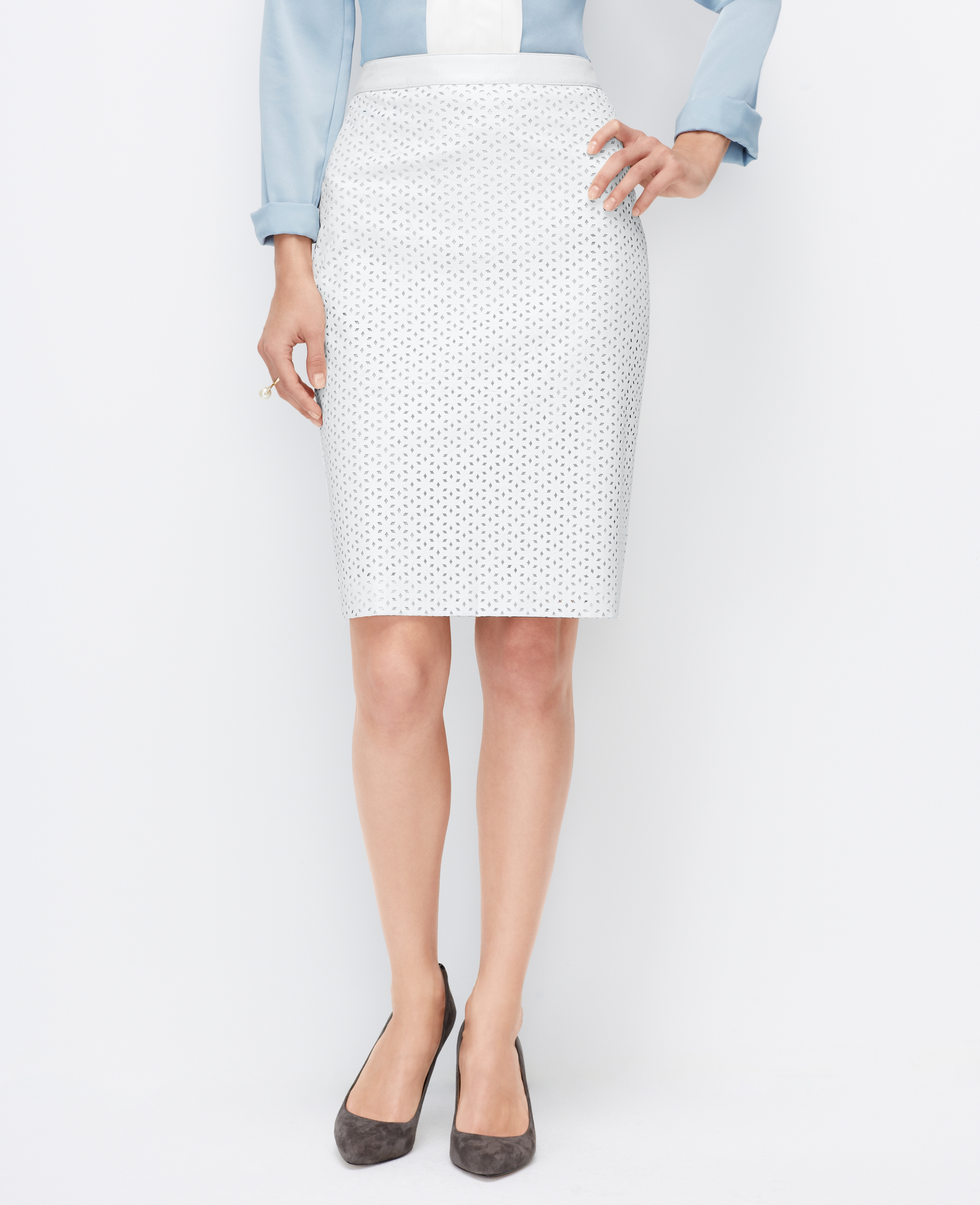 Ann taylor Faux Leather Pencil Skirt in White | Lyst