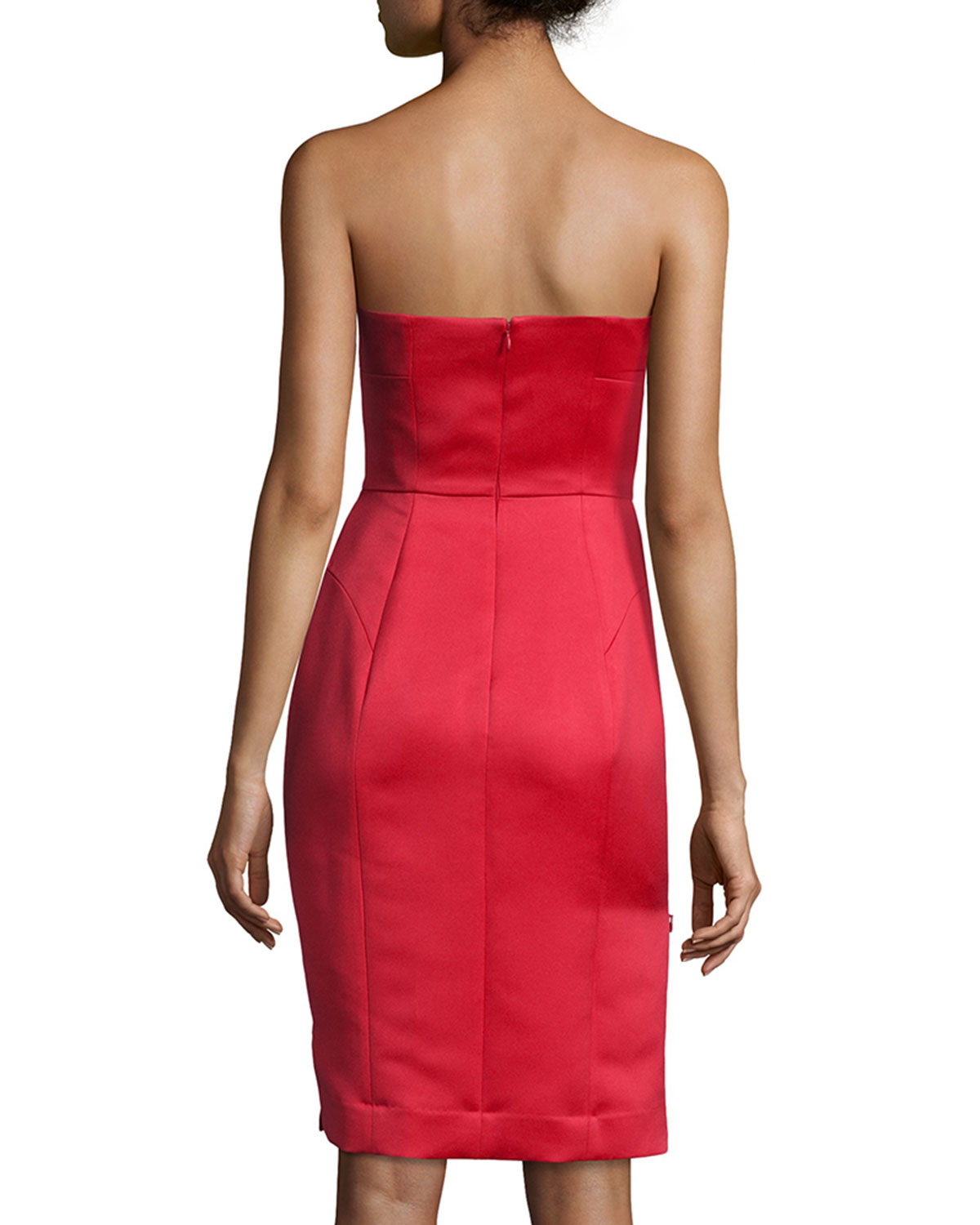 7c2a3086a0f Lyst - MILLY Marta Strapless Duchess Satin Dress in Red