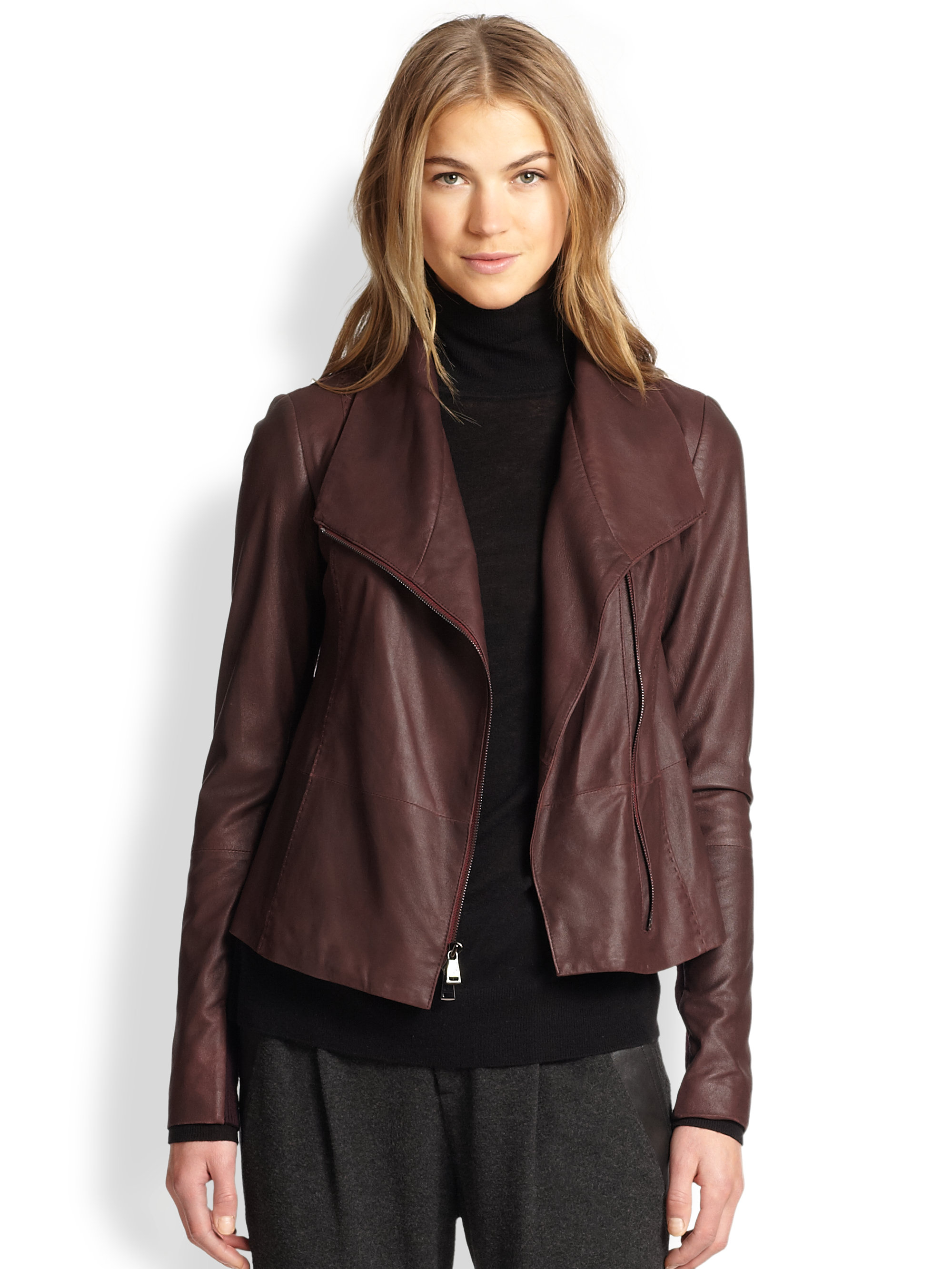 Lyst Vince Leather Scuba Jacket In Purple