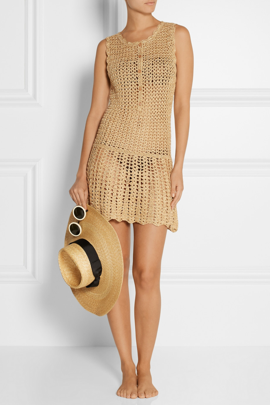 942f83a6d6 Melissa Odabash Rosie Metallic Crochet-Knit Dress in Metallic - Lyst