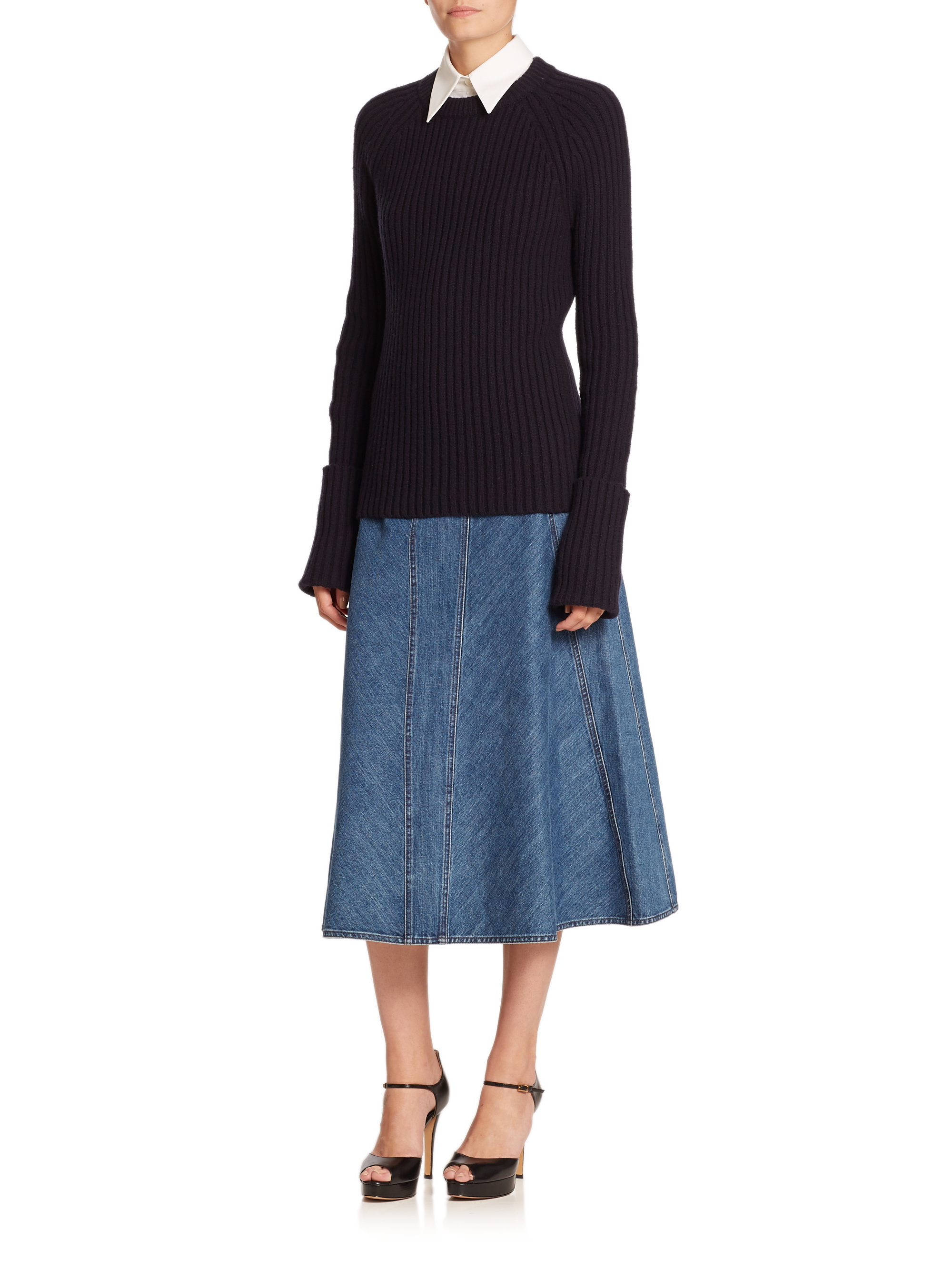 michael kors seamed denim midi skirt in blue lyst