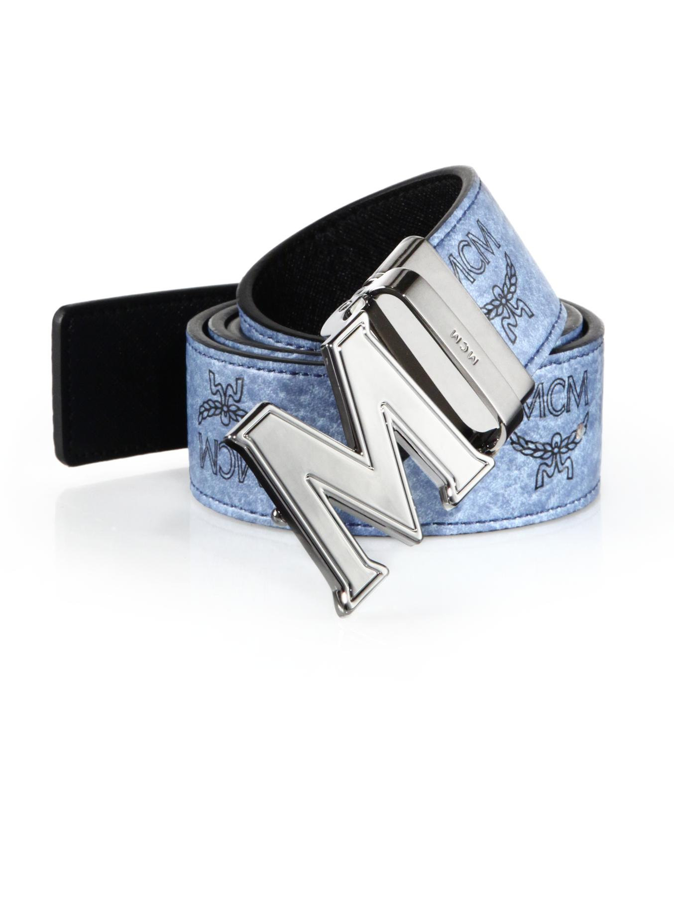Lyst Mcm Claus Reversible Belt In Blue For Men
