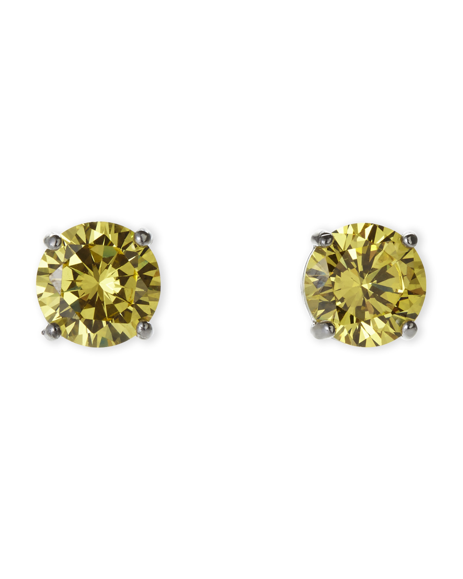 Jardin silver tone yellow cubic zirconia stud earrings for Jardin jewelry