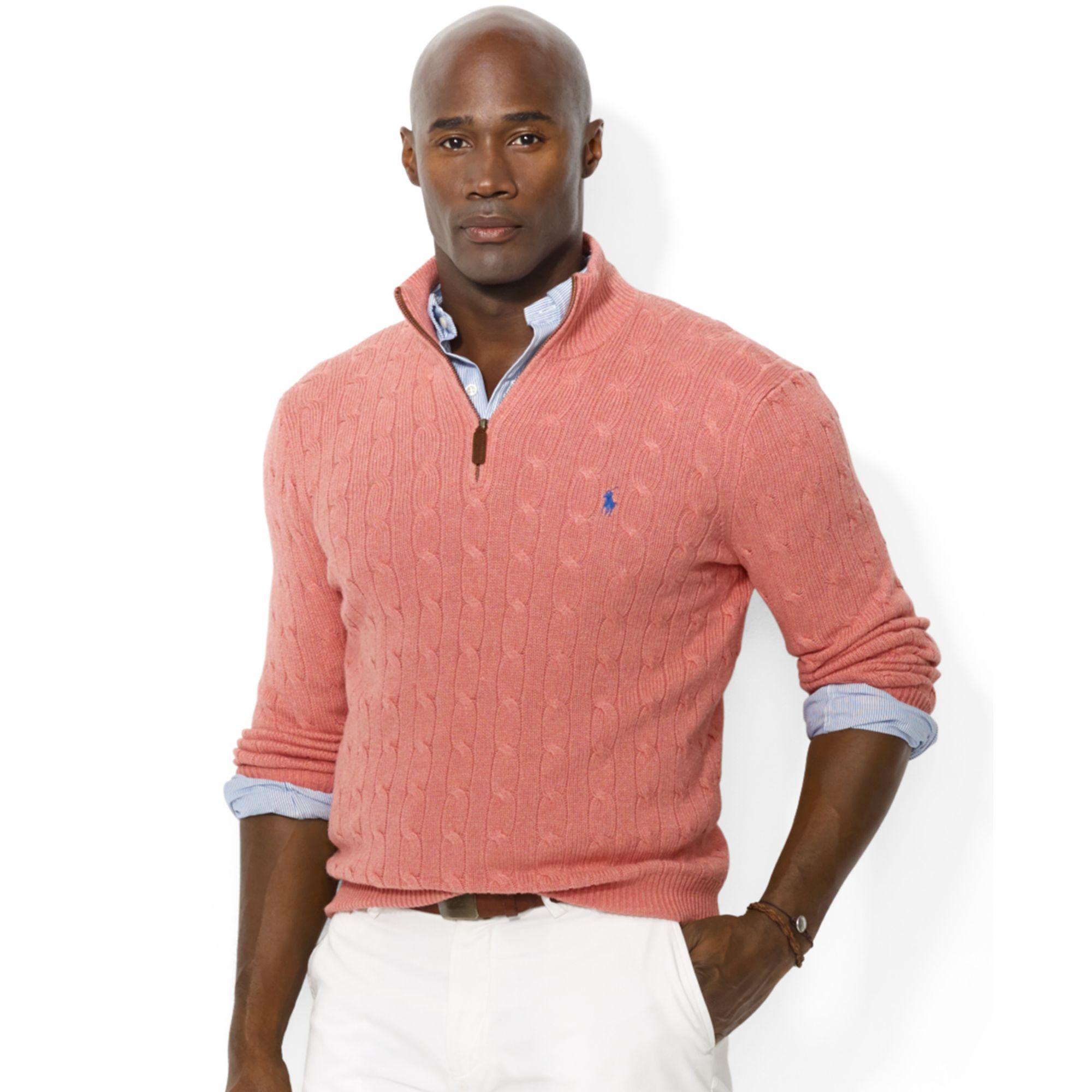 Ralph lauren Half Zip Cable Knit Tussah Silk Sweater in Pink for ...
