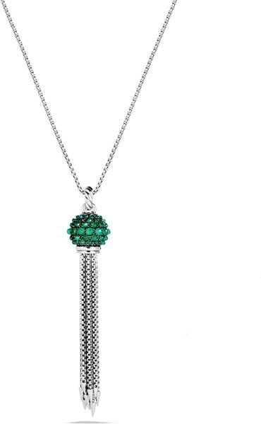 david yurman tassel necklace with green onyx in green