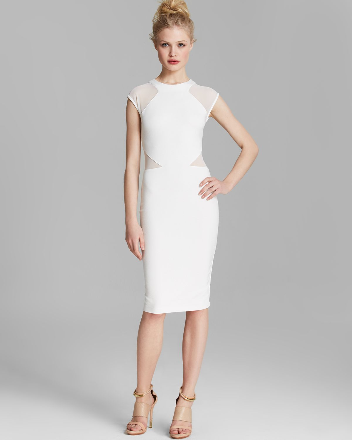French connection Dress - Vivien Paneled Jersey in White | Lyst