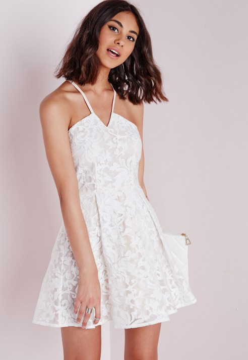 Lyst - Missguided Lace Cross Back Skater Dress White in White d30bfa84b