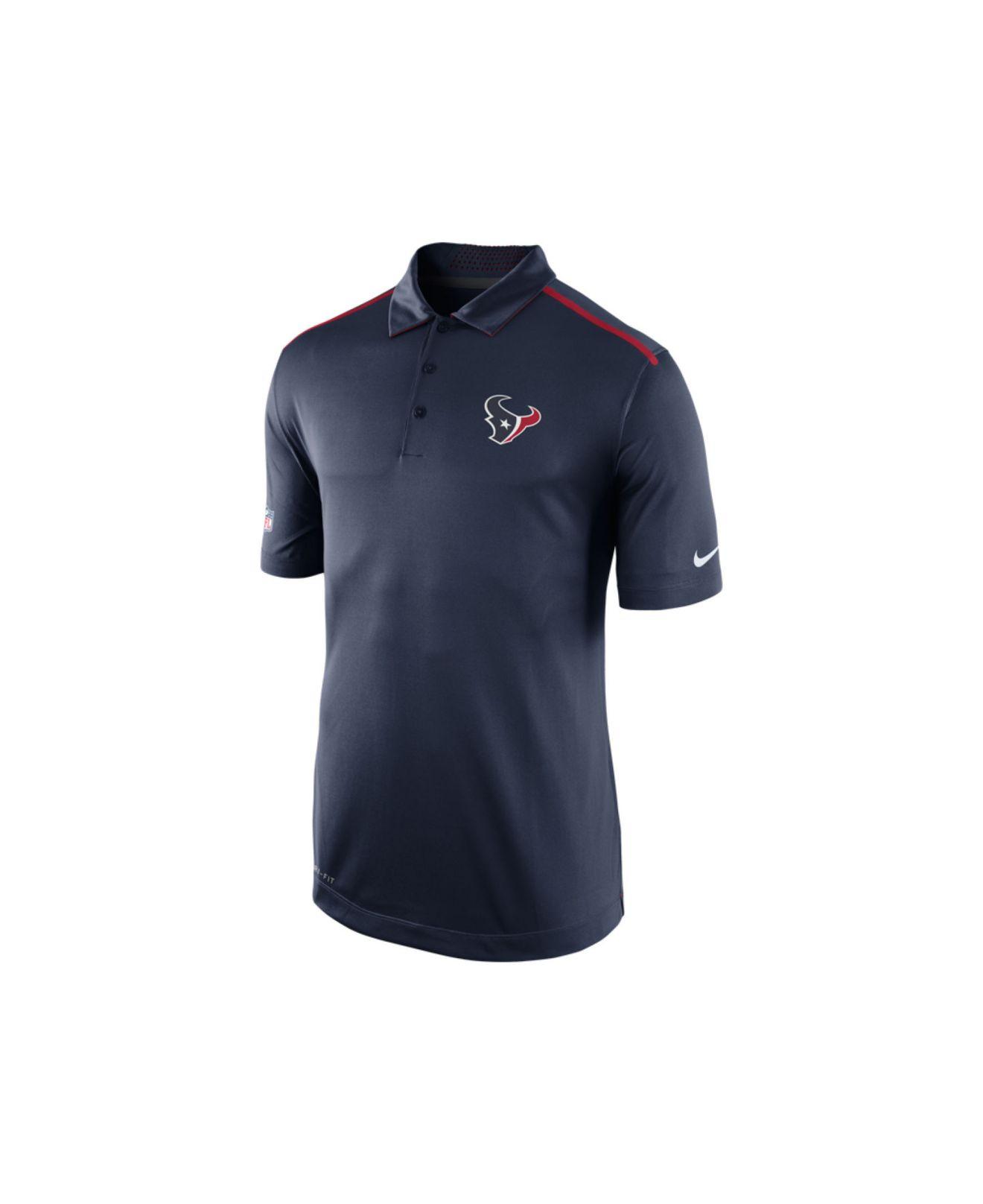 Nike men 39 s houston texans elite coaches polo shirt in blue for Houston texans polo shirt
