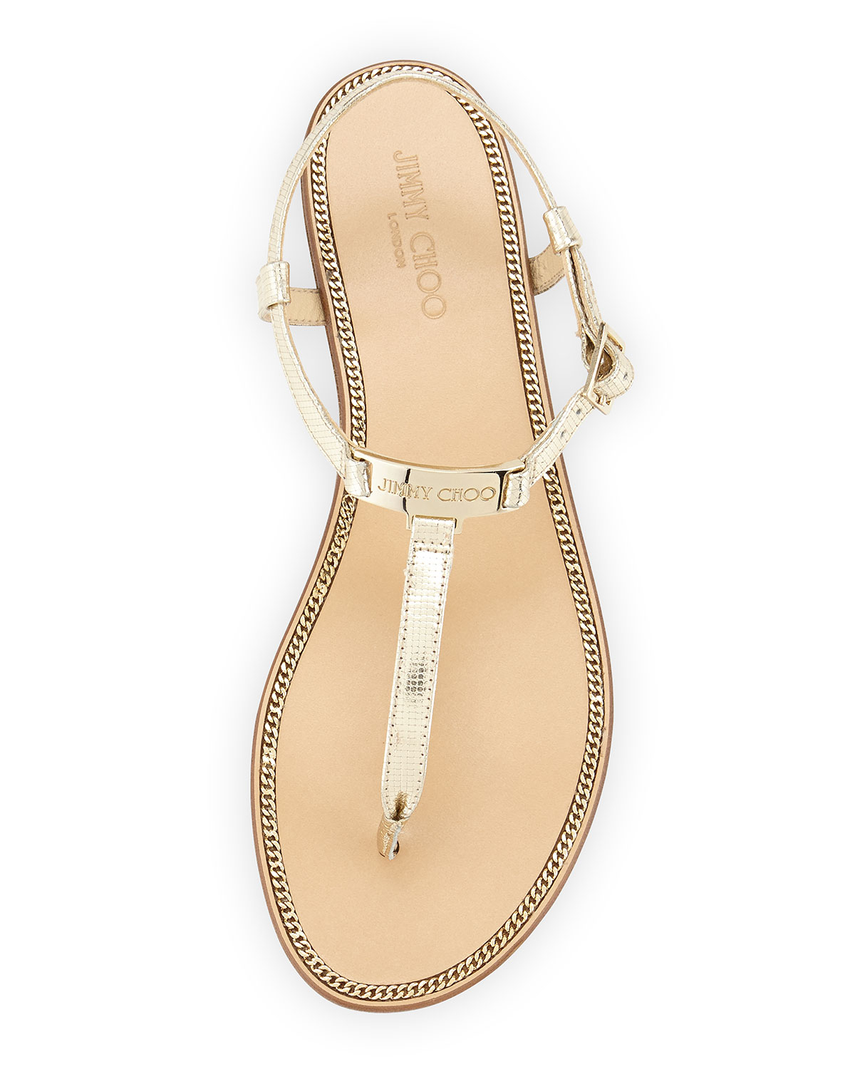 5d6797e223d Lyst - Jimmy Choo Wave Metallic Leather Thong Sandal in Metallic
