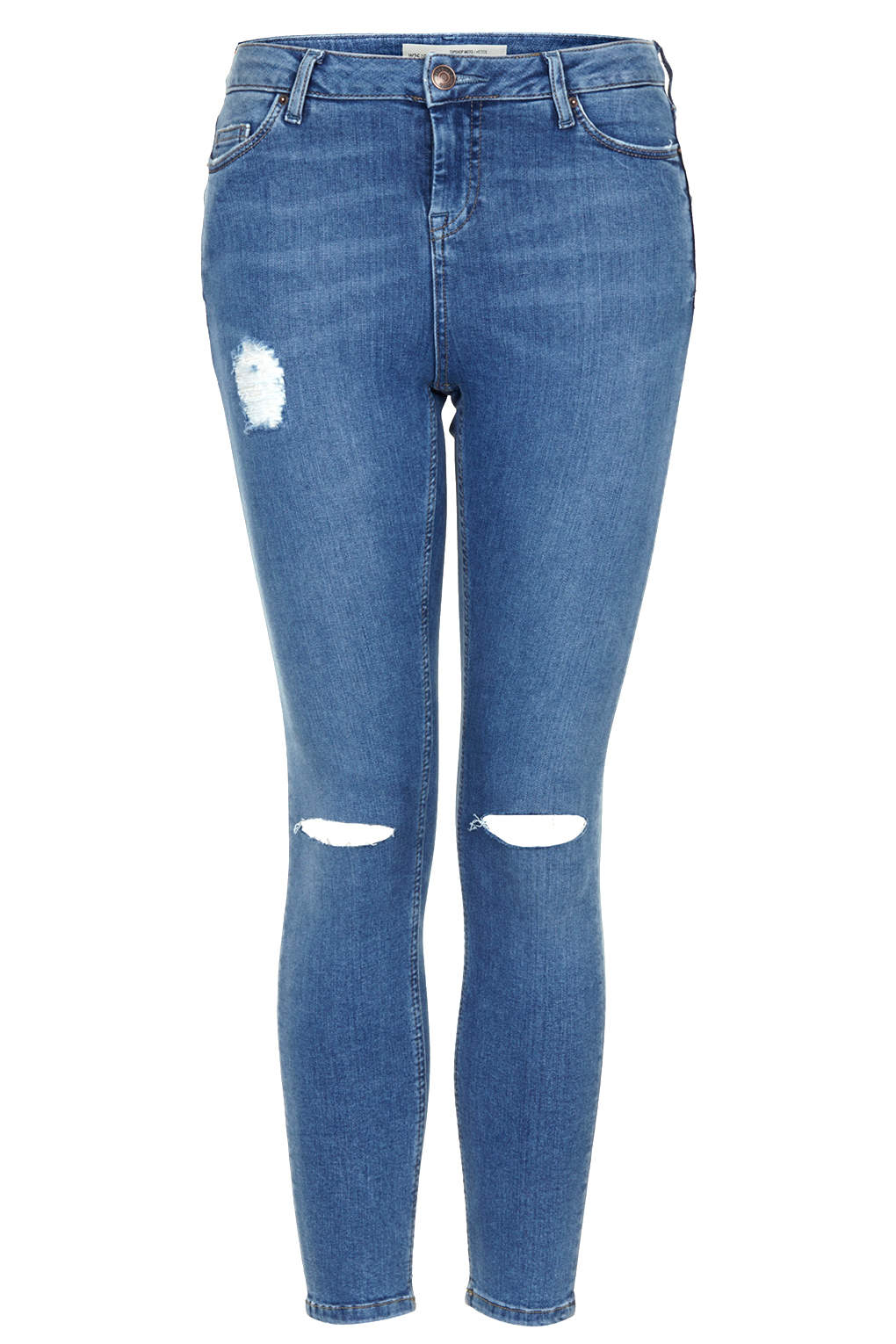 topshop petite moto stone wash ripped jamie jeans in blue
