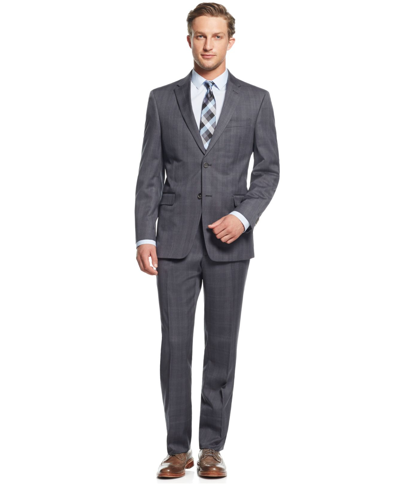 Tommy hilfiger Grey Plaid Slim-fit Suit in Gray for Men | Lyst