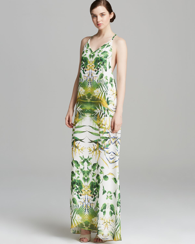 Lyst Alice Olivia Maxi Dress Dove Tropical Print