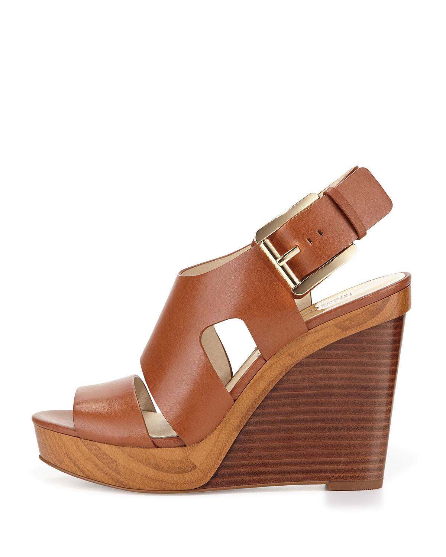 30d941481c9 Lyst - Michael Michael Kors Carla Platform Wedge Sandal in Brown