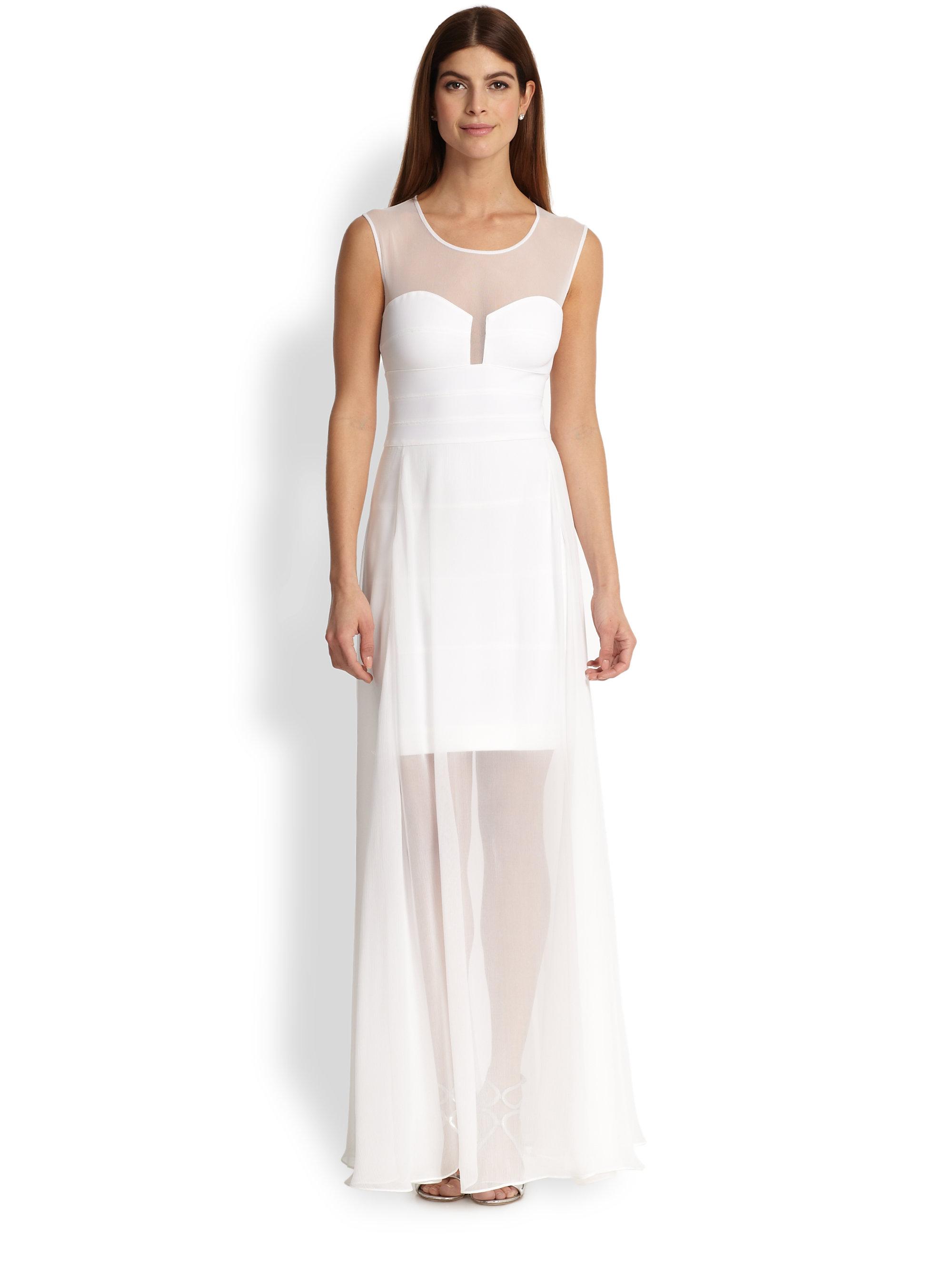 Lyst - Bcbgmaxazria Alai Chiffon Overaly Gown in White