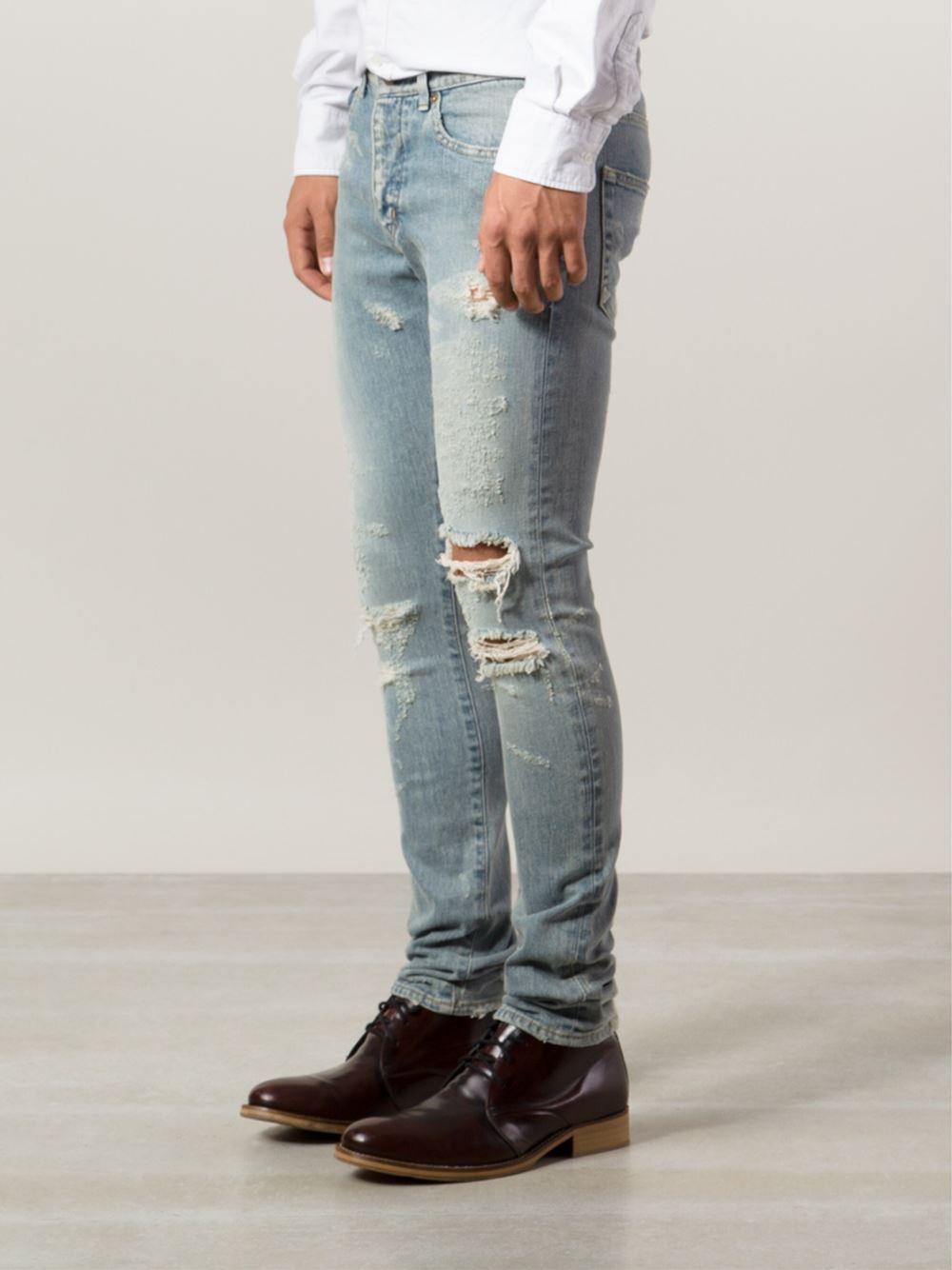 2174b8ae Saint Laurent Distressed Skinny Jeans in Blue for Men - Lyst