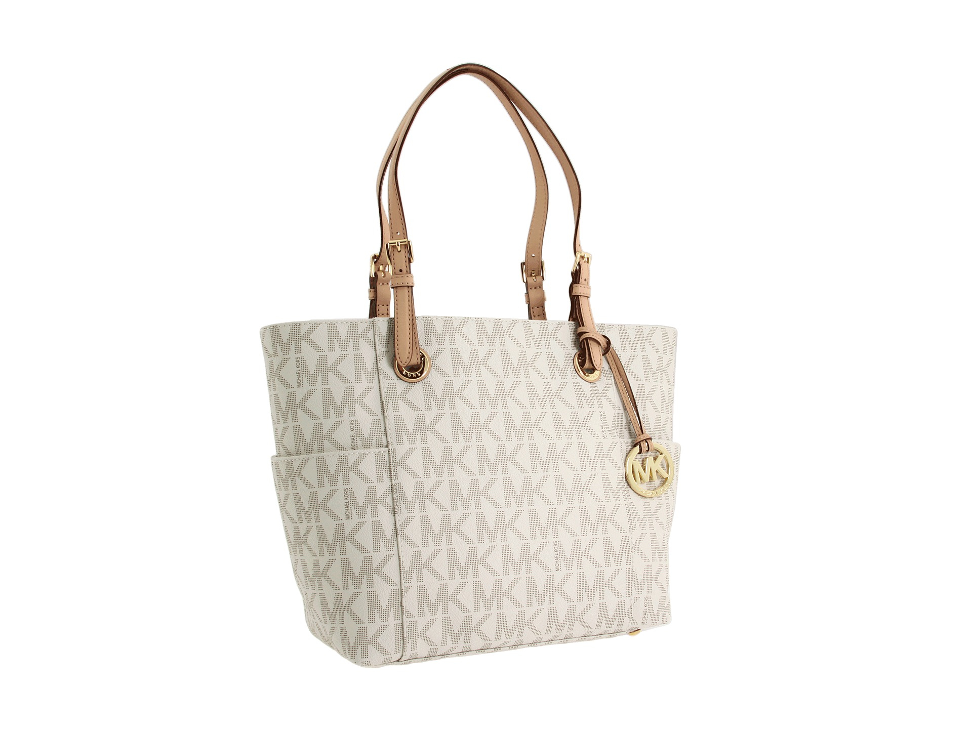 961cd4a028b6 Lyst - MICHAEL Michael Kors Mk Logo East west Signature Tote in White