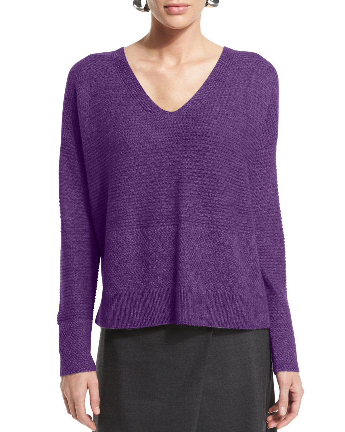 Eileen fisher Long-sleeve V-neck Top in Purple | Lyst