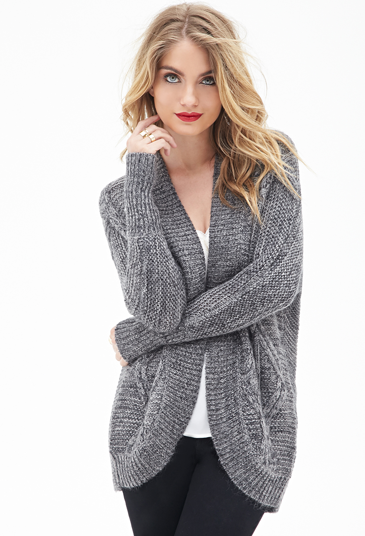 Forever 21 Contemporary Cable Knit Batwing Cardigan in Gray | Lyst