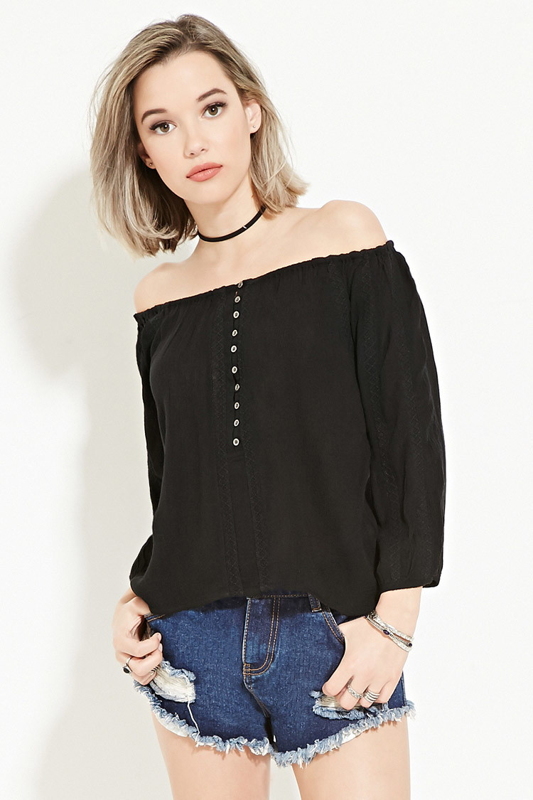 cd2e27e5ab10 Forever 21 Buttoned Off-the-shoulder Top in Black   Lyst. Forever 21  Buttoned Off The Shoulder Top In Black Lyst