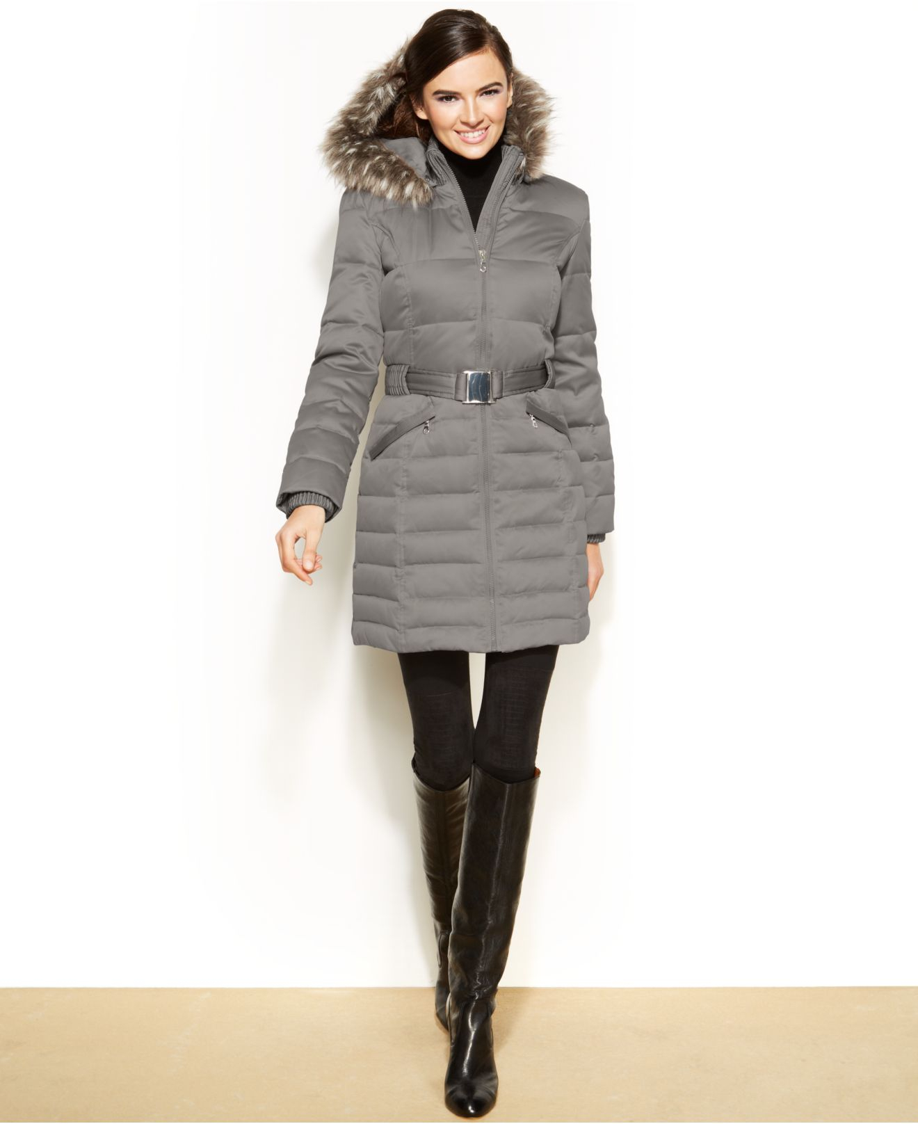 Lyst Dkny Hooded Faux Fur Trim Belted Down Puffer Coat