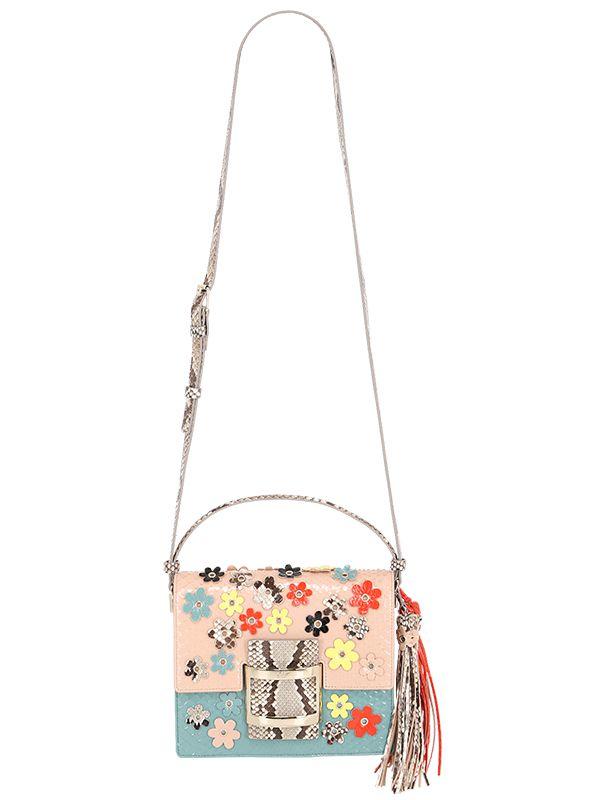 a510b7e2a5 Lyst - Roger Vivier Mini Viv Flower Leather   Python Bag