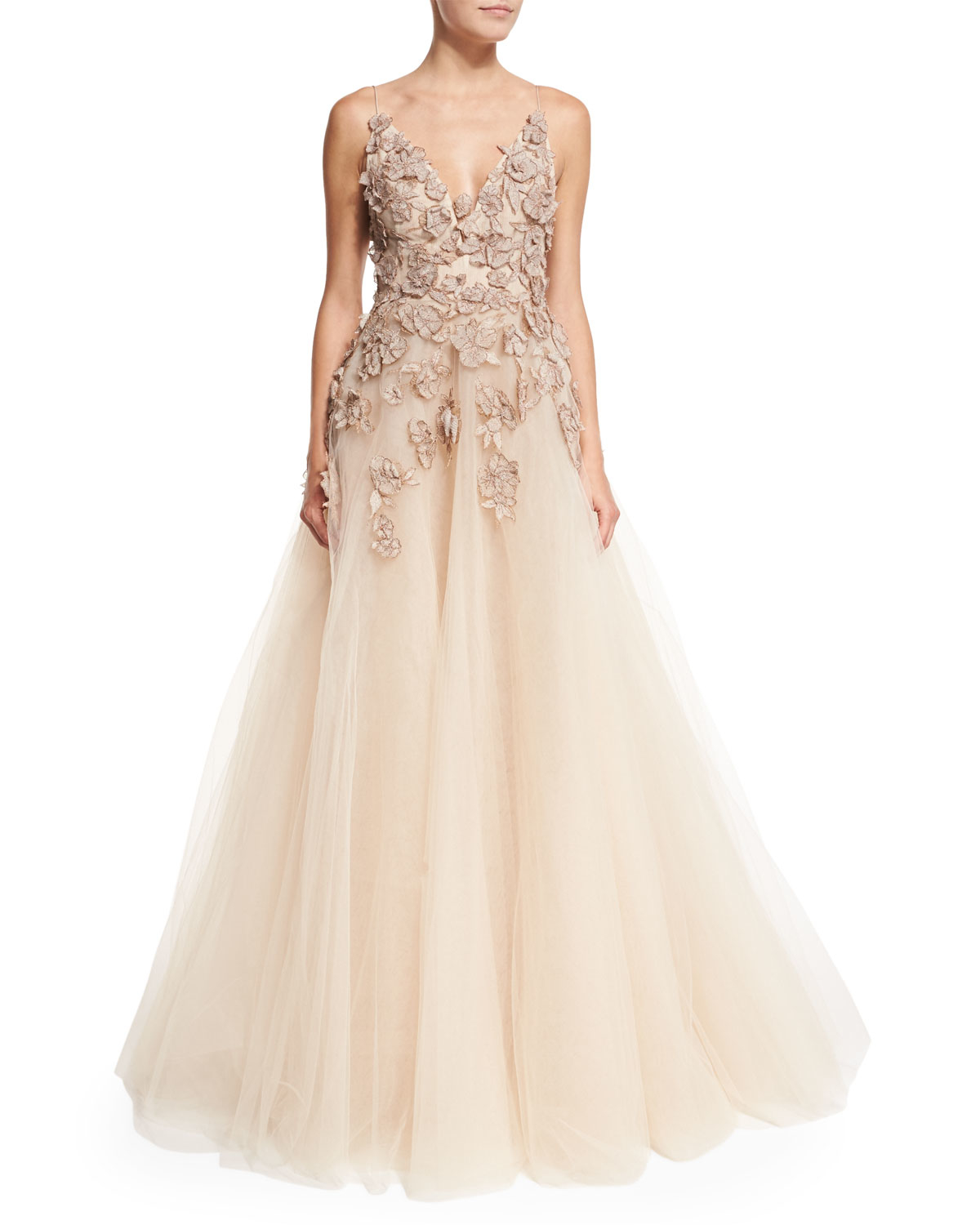 Lyst - Monique Lhuillier Embroidered-bodice Full Tulle Gown in Natural