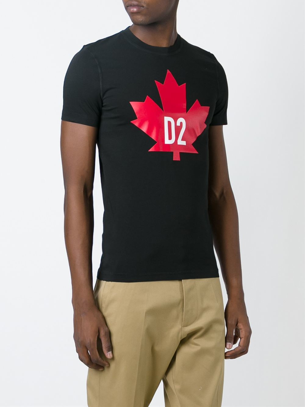 0e16618cbe0 Lyst - DSquared² Leaf Print T-shirt in Red for Men