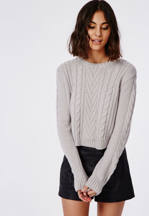 Lyst - Missguided Cropped Cable Knit Oversized Slouch Sweater Grey ... 40e2aa948