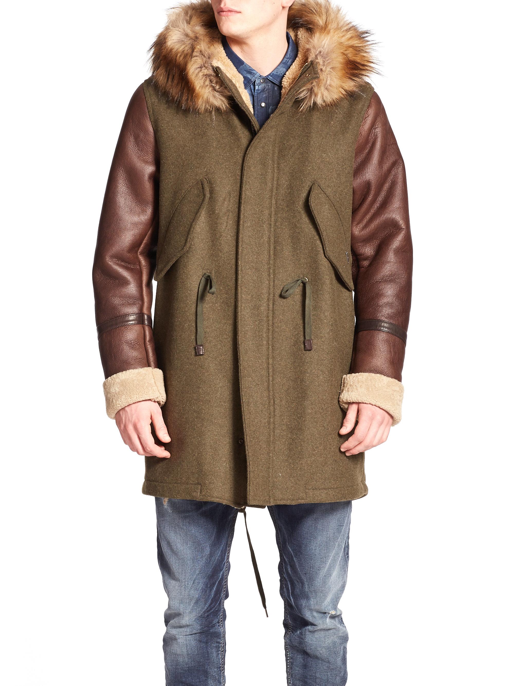Diesel W-nick Shearling &amp Faux-fur Trimmed Coat in Natural for Men