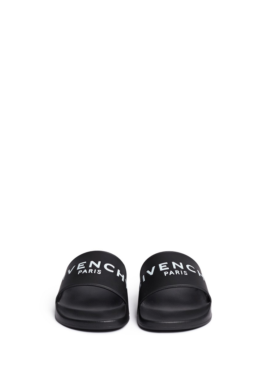 givenchy logo rubber slides in black lyst