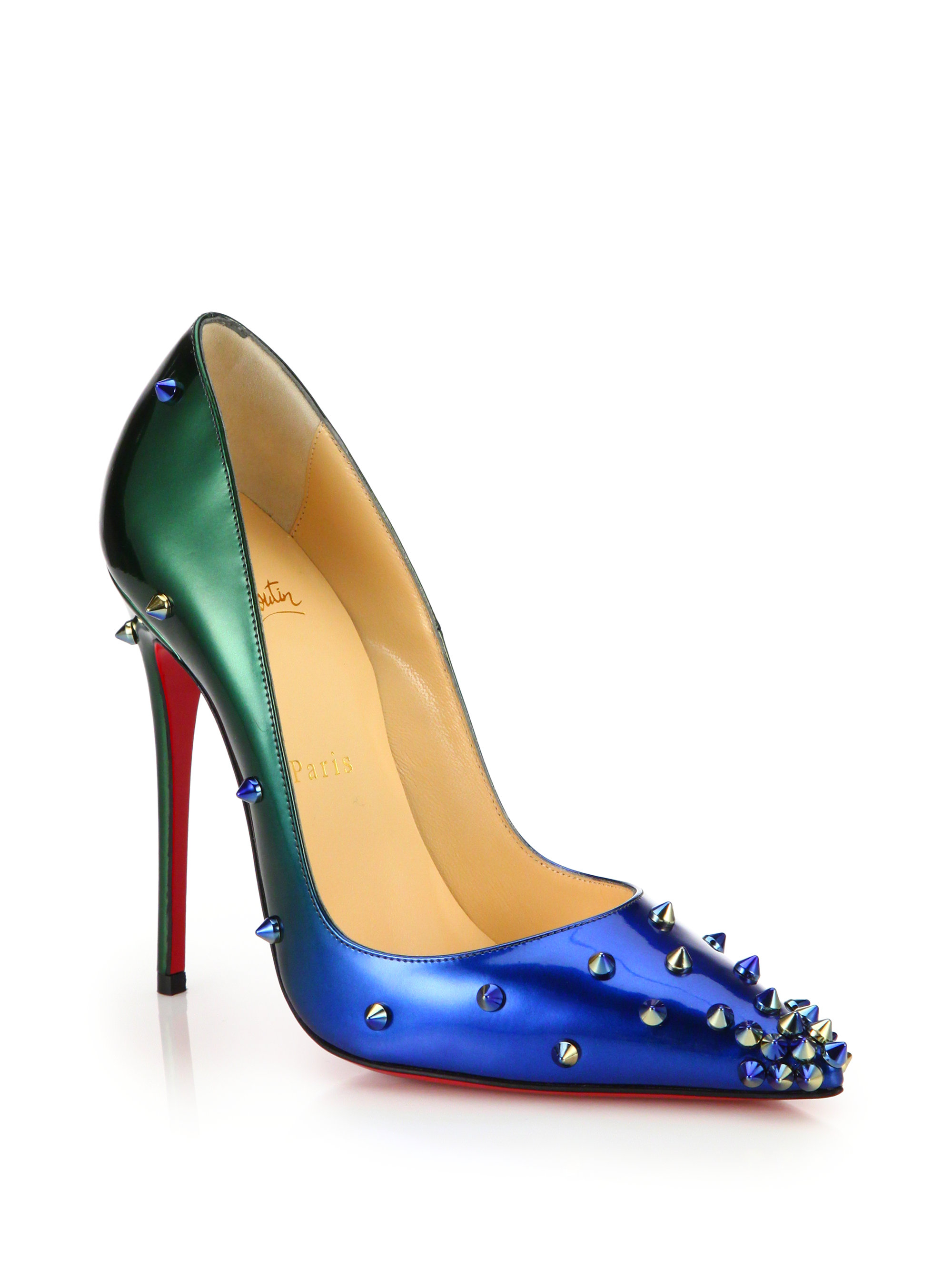 2d3360f50a3f Lyst - Christian Louboutin Degraspike Studded Ombré Leather Pumps