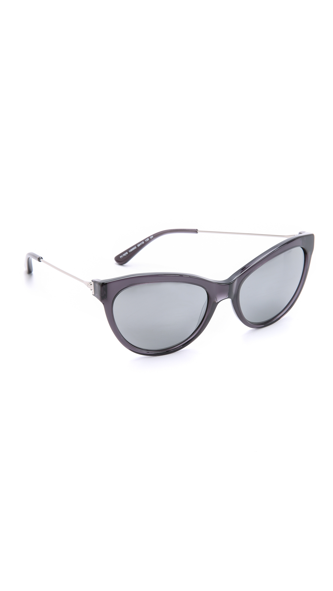 efb390855c7 Lyst - Tory Burch Cat Eye Sunglasses - Milky Smoke Silver steel Flash in  Gray