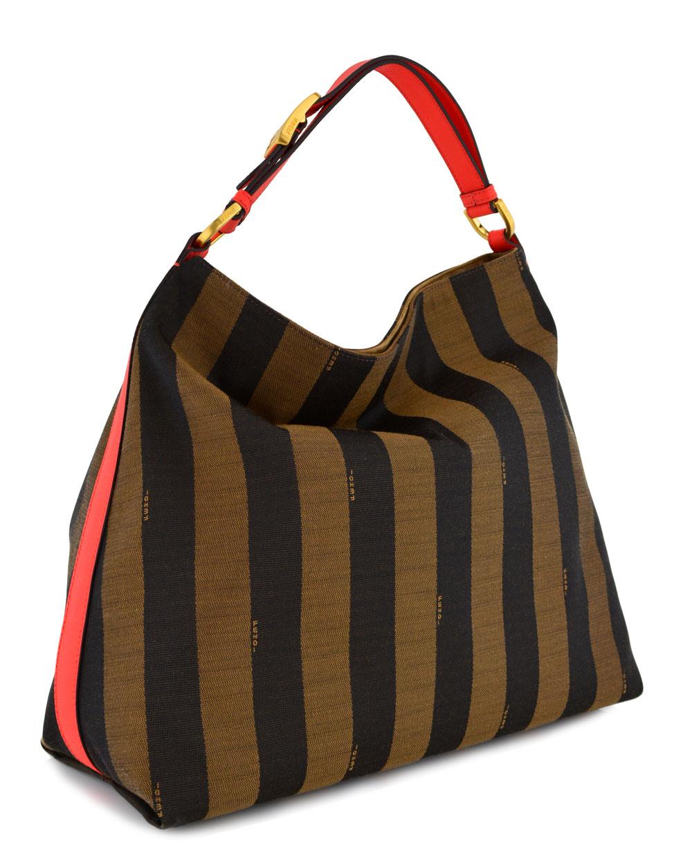 bc26cc719bd Lyst - Fendi Pequin Stripe and Poppy Borsa Hobo Bag in Brown