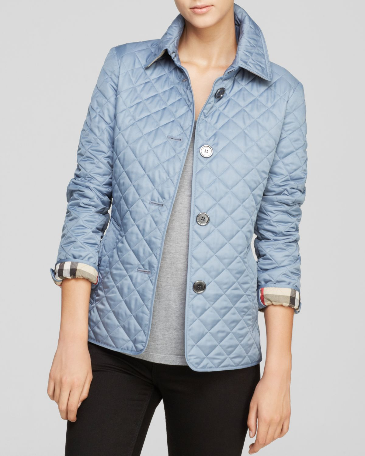 Burberry Brit Diamond Quilted Jacket in Blue | Lyst : burberry diamond quilted jacket sale - Adamdwight.com