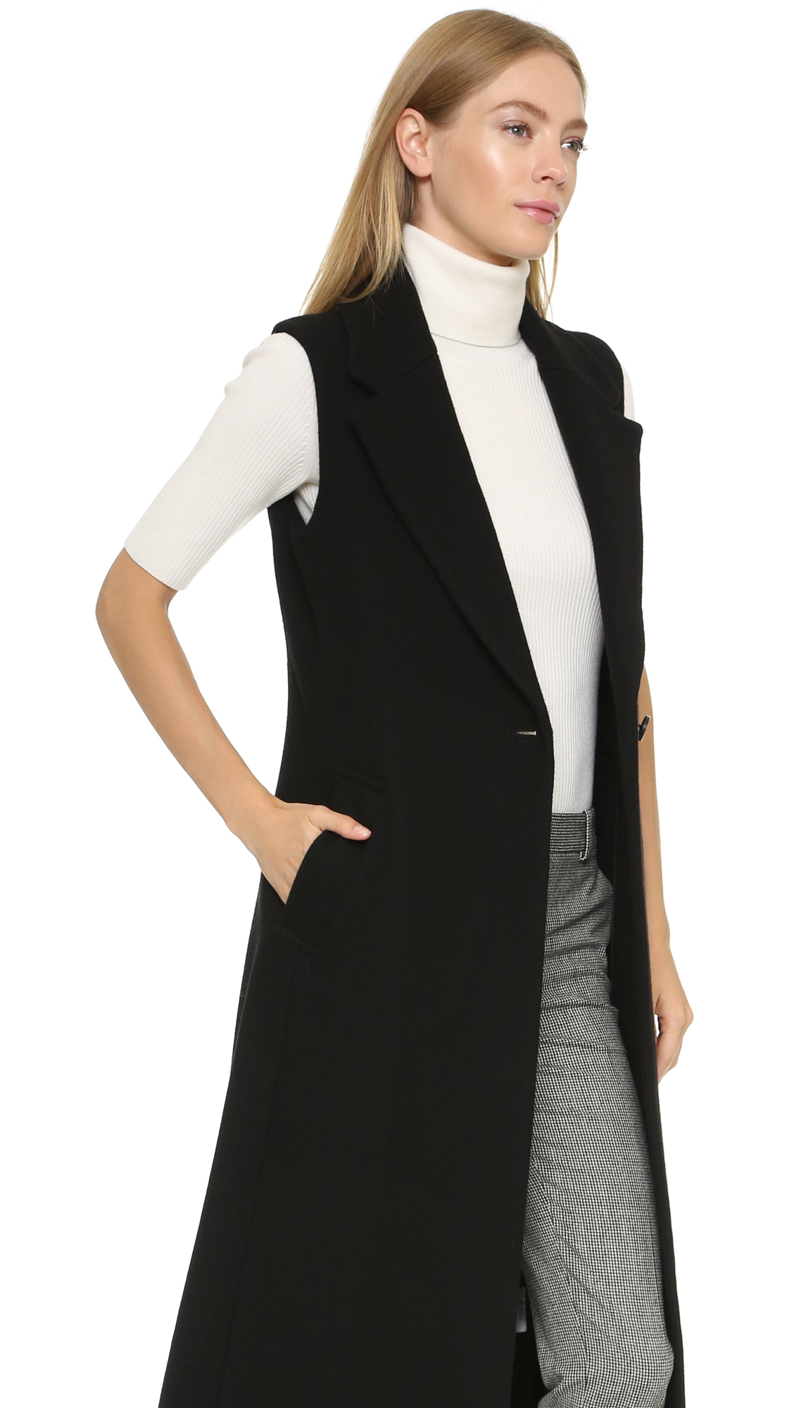 Theory Bolton Tremayah Sleeveless Coat in Black | Lyst