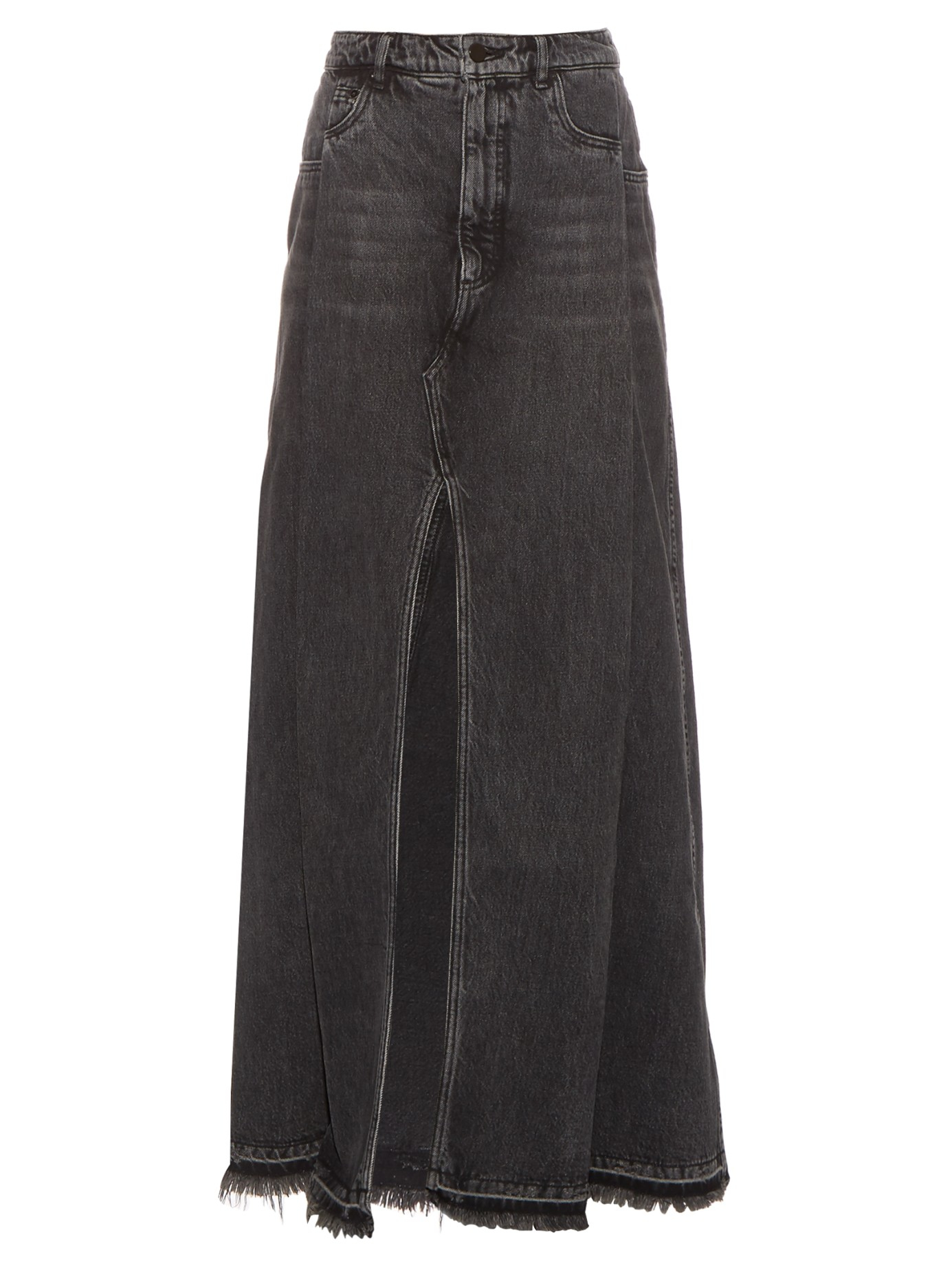 wang denim maxi skirt in gray lyst