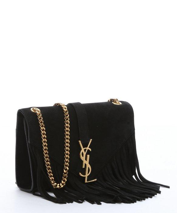 yves saint laurent tote handbags - monogram suede fringe shoulder bag