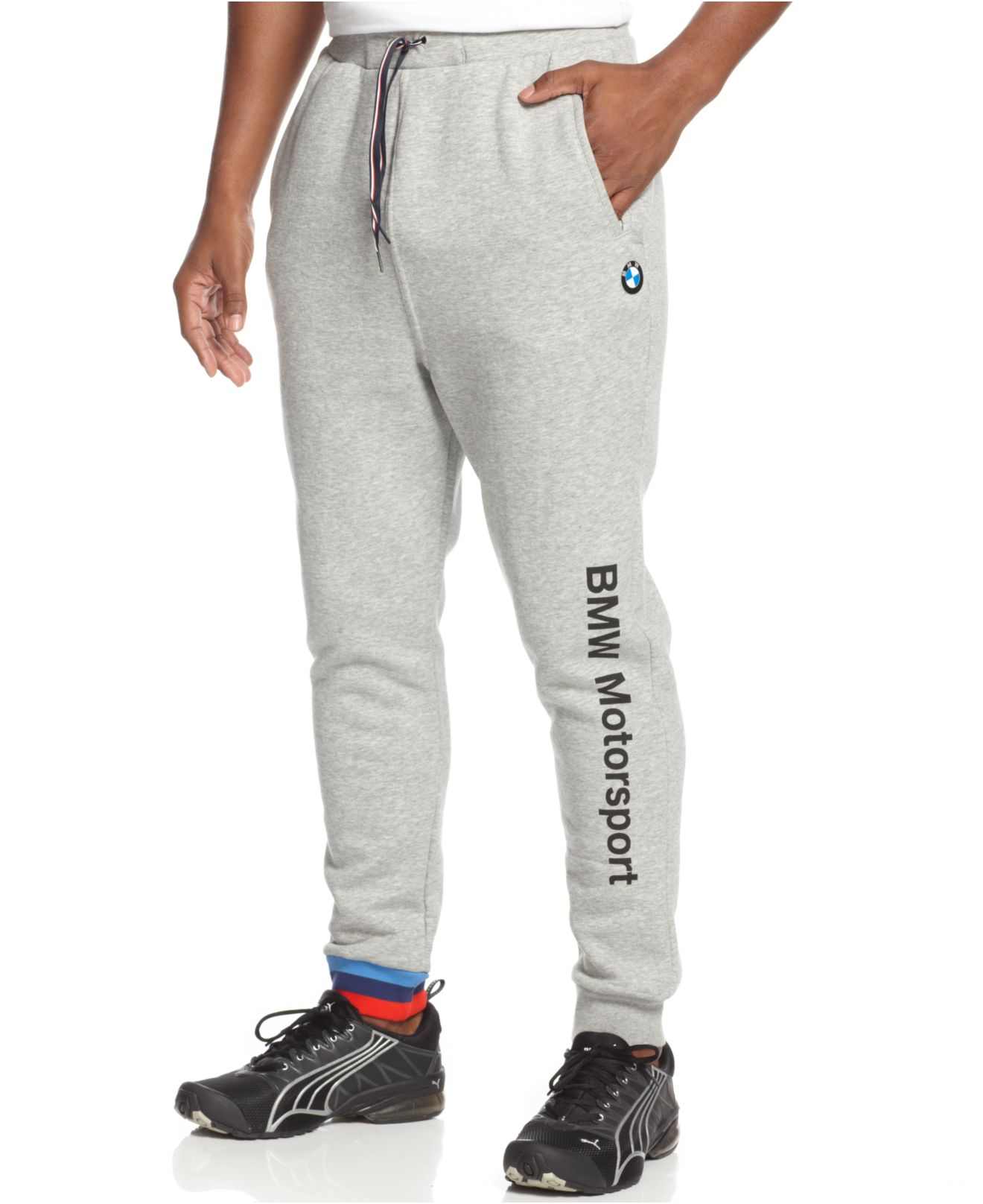 Puma Bmw Fleece Jogger Pants In Gray For Men Lyst