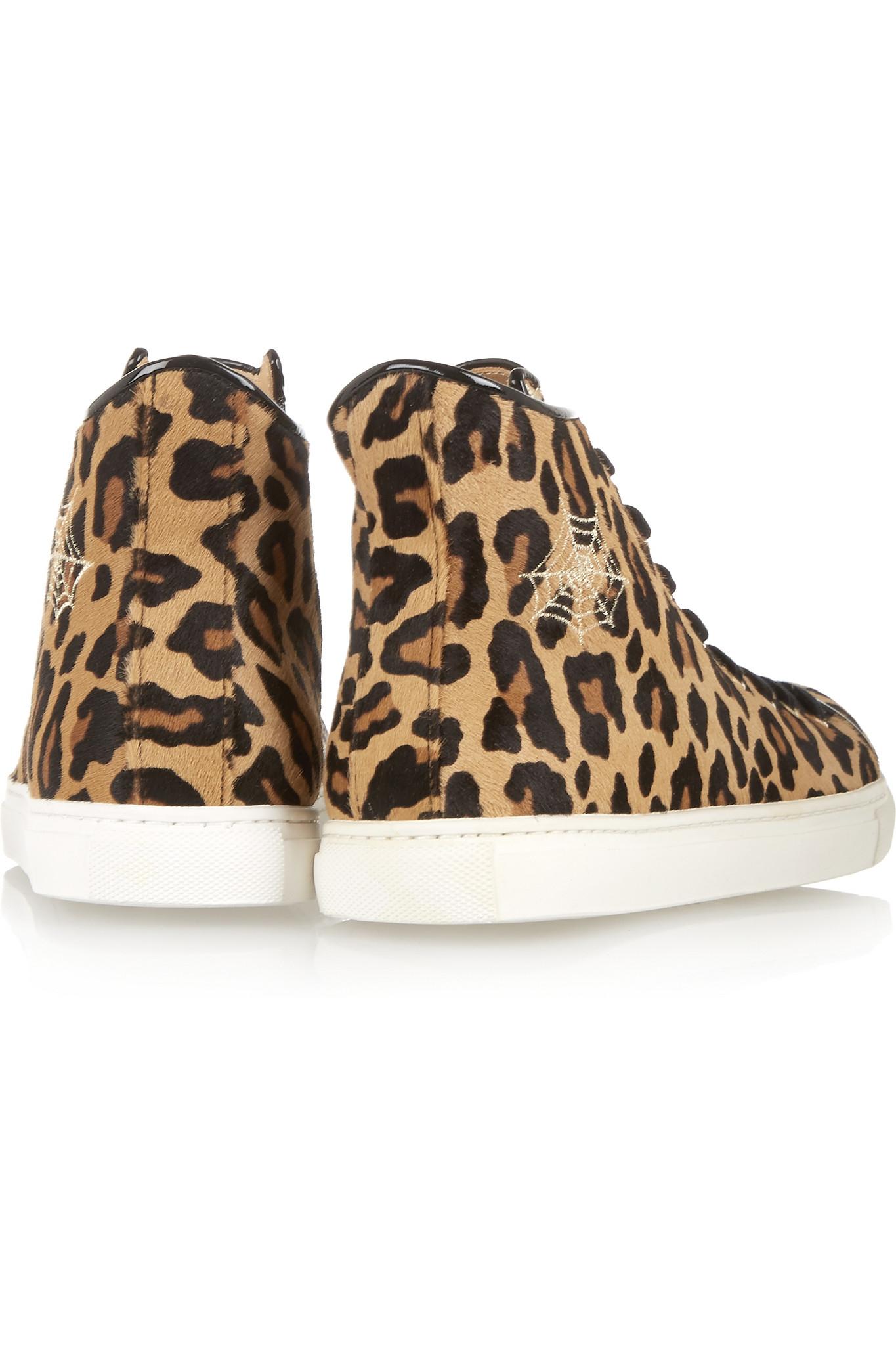 46d34b19ae99 Charlotte Olympia Purrrfect Leopard-print Calf Hair High-top Sneakers - Lyst