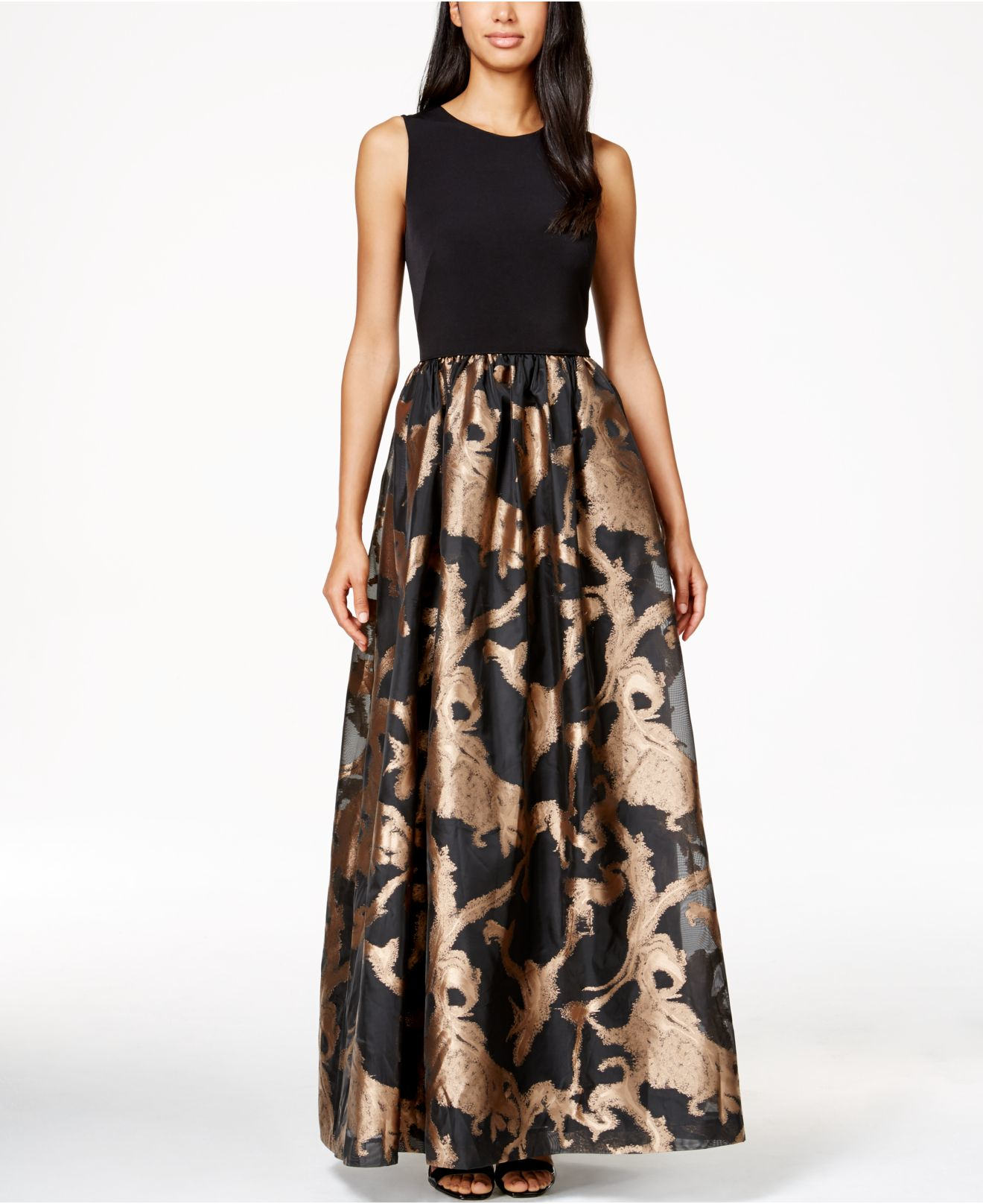 Lyst Calvin Klein Metallic Taffeta Gown In Black