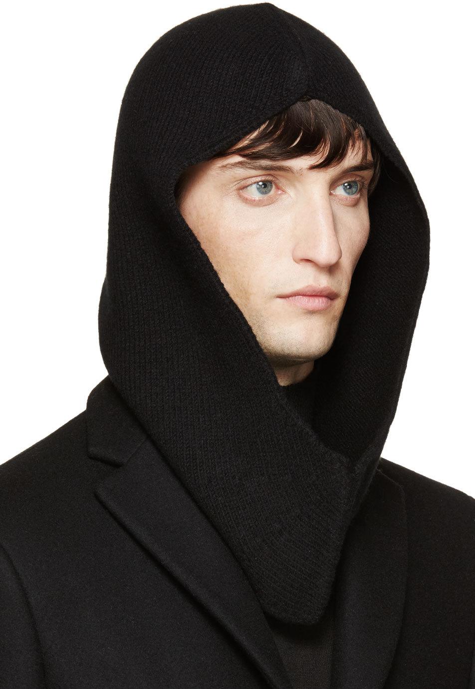 Lyst - Rick Owens Black Wool Moog Hood in Black for Men 0808aff839c4