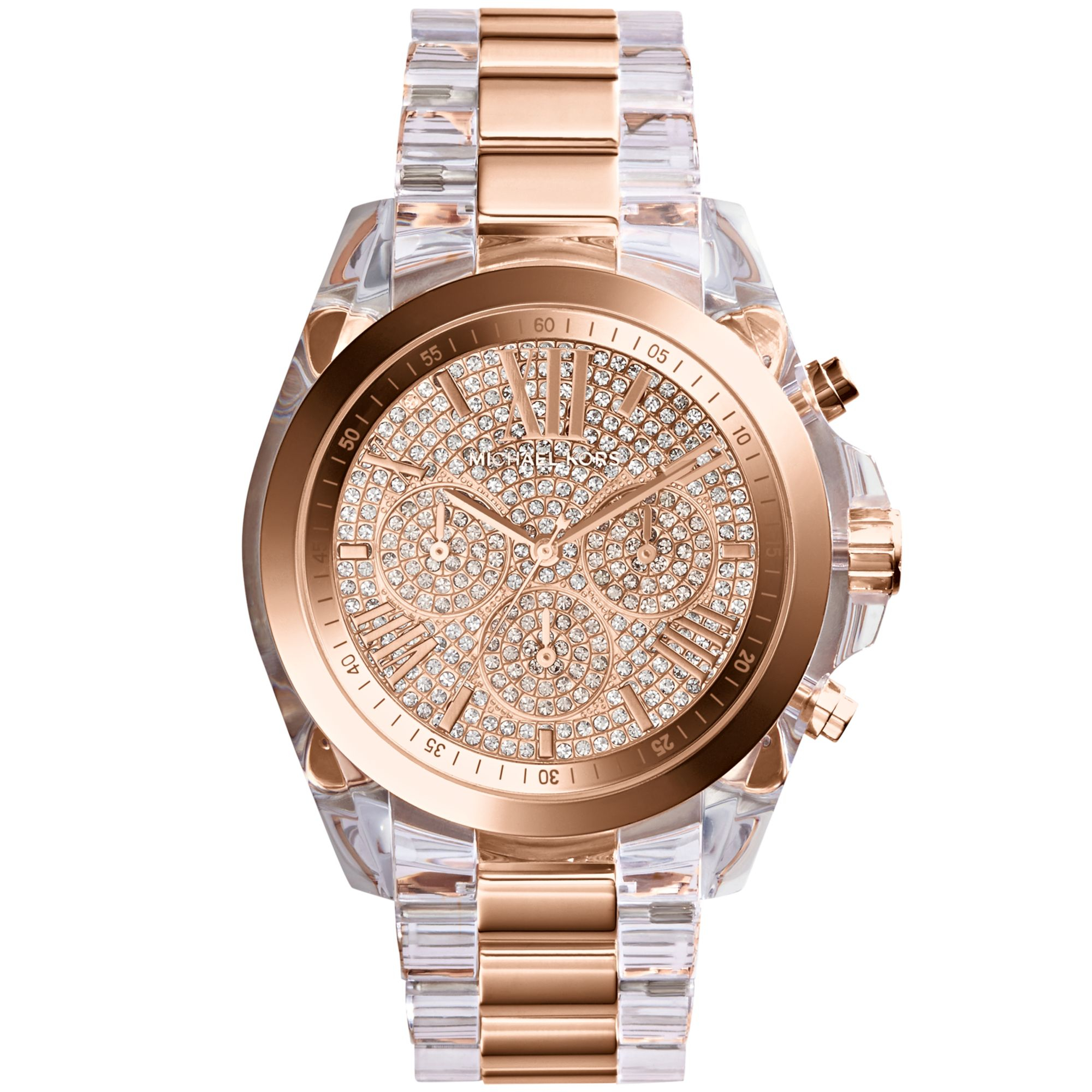 8a8f482d7716 Lyst - Michael Kors Womens Chronograph Bradshaw Clear and Rose ...